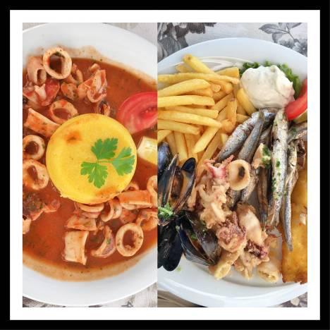 Restaurante Forum em Pula na Croácia: Polenta com polvo e fritada de frutos do mar