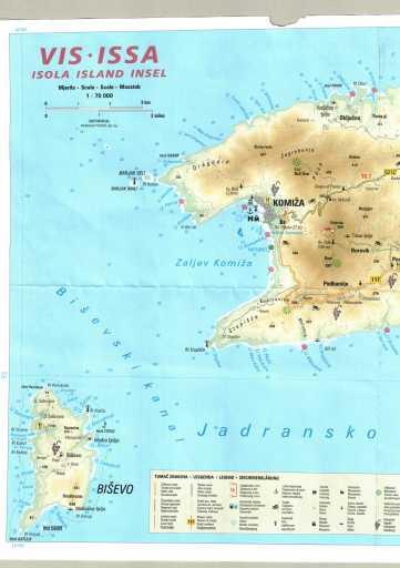 Mapa da Ilha de Vis com a Ilha de Biševo à esquerda: destaque para a Gruta Azul (indicado no mapa como Modra špilja)