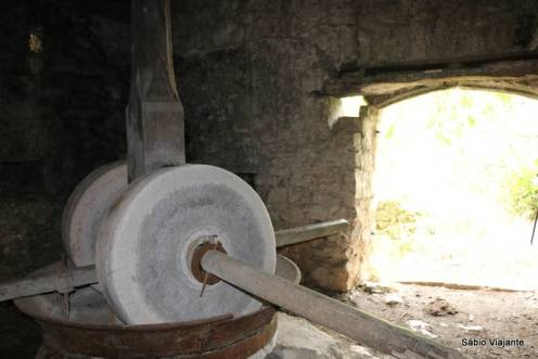 Moinho usado para extrair azeite de azeitonas