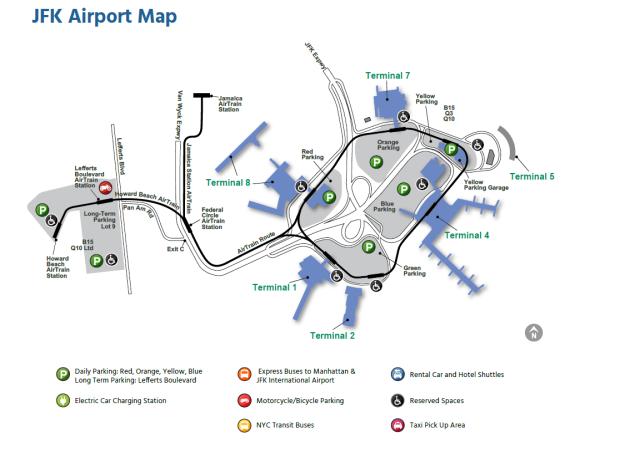mapa aeroporto JFK NY